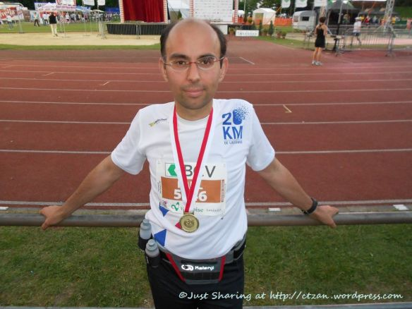 Hubby, 258th finisher, 30th edition of Lausanne 20km Run 2011