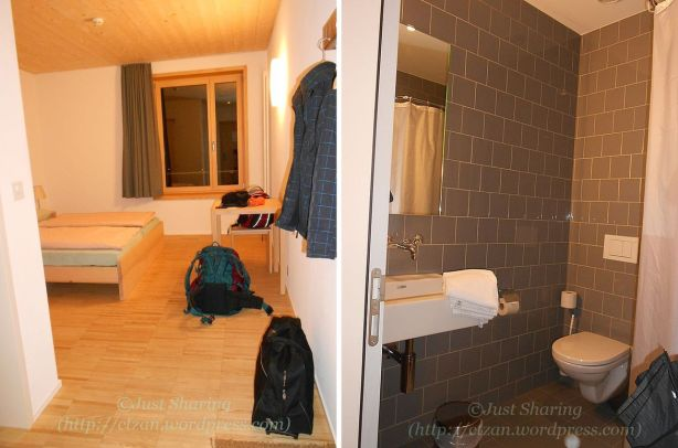 Our room in St Moritz Youth Hostel, 14 April 2012
