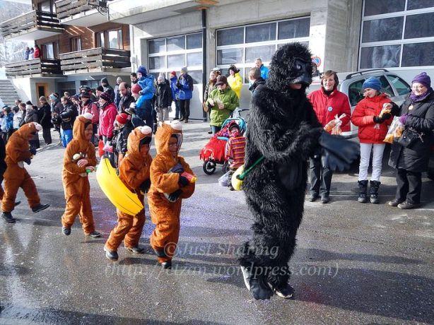 Monkey Fasnacht procession in Wiler, Lötschental, 9 February 2013