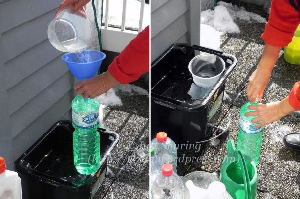 Filling empty water bottles with melted snow