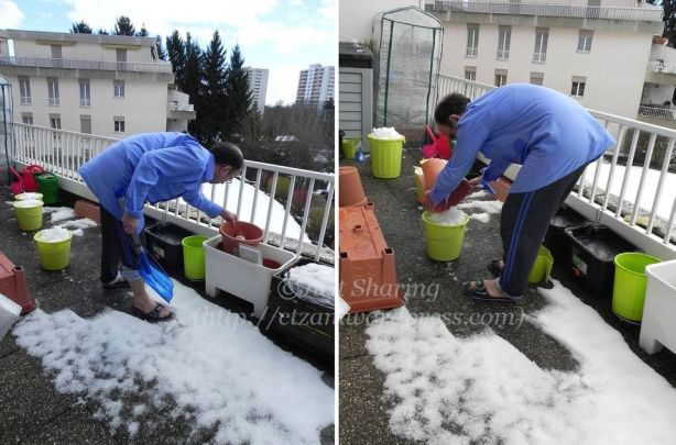 Scooping snow from a pot