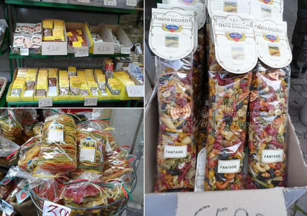 Colour pasta and a choice of pasta spices in Riva del Garda, Italy