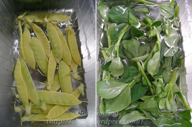 Golden sweet pea and broan bean tips