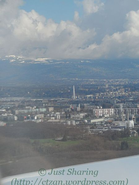 Jet d'Eau of Geneva as seen from the aeroplane, 24 March 2014
